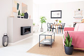 Real photo of bright Nordic living room interior with dining table, pink lounge and metal coffee table standing on carpet and fresh plants