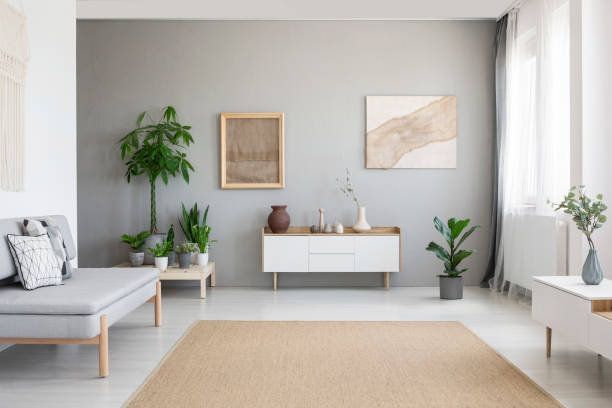 Real photo of bright Nordic style living room interior with fresh plants, white cupboard, window with drapes, grey sofa and big carpet on the floor stock photo
