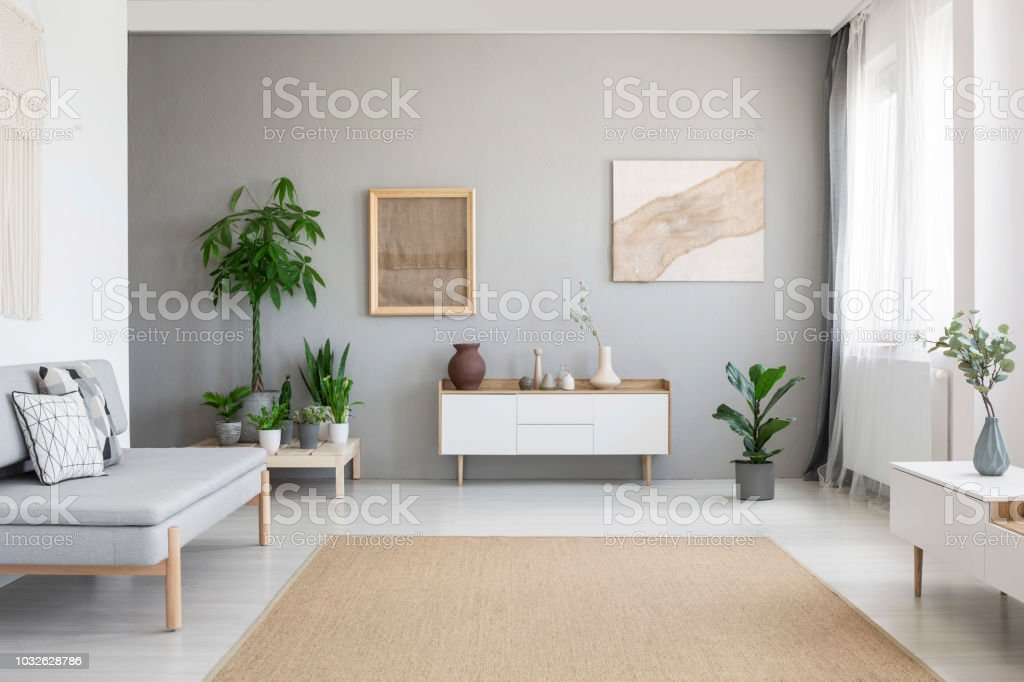 Real photo of bright Nordic style living room interior with fresh plants, white cupboard, window with drapes, grey sofa and big carpet on the floor – zdjęcie