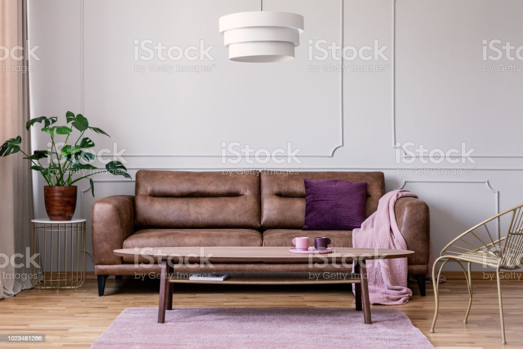 Astounding Real Photo Of Brown Leather Sofa With Violet Cushion And Cjindustries Chair Design For Home Cjindustriesco