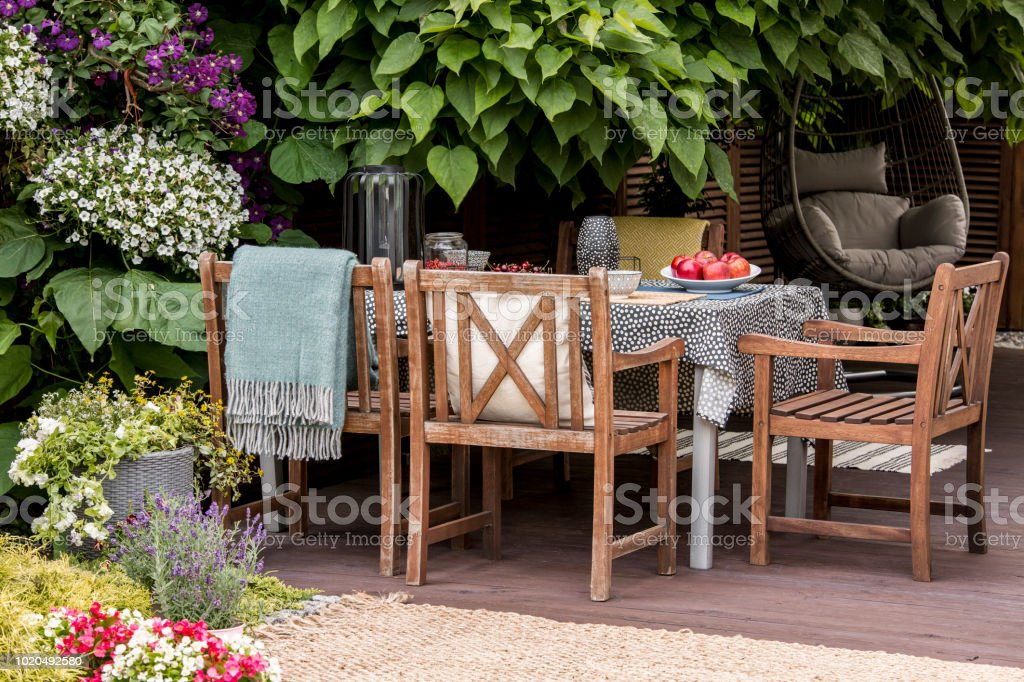 Real photo of garden furniture on beautiful terrace full of flowers and plants stock photo
