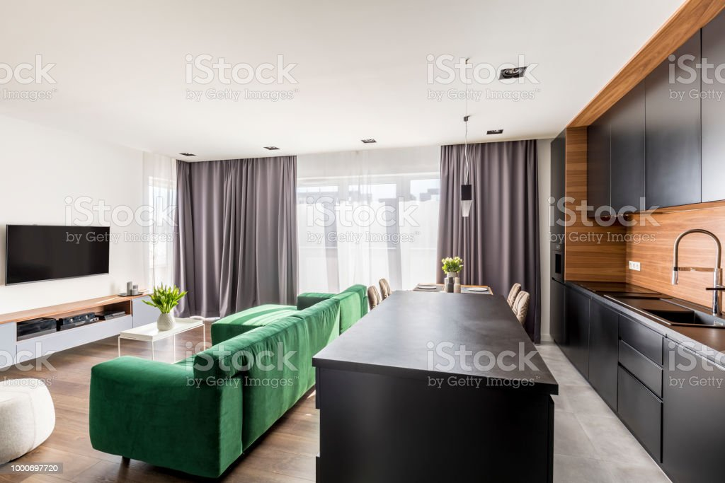 Real Photo Of Hotel Room Interior With Green Lounge Tv Set