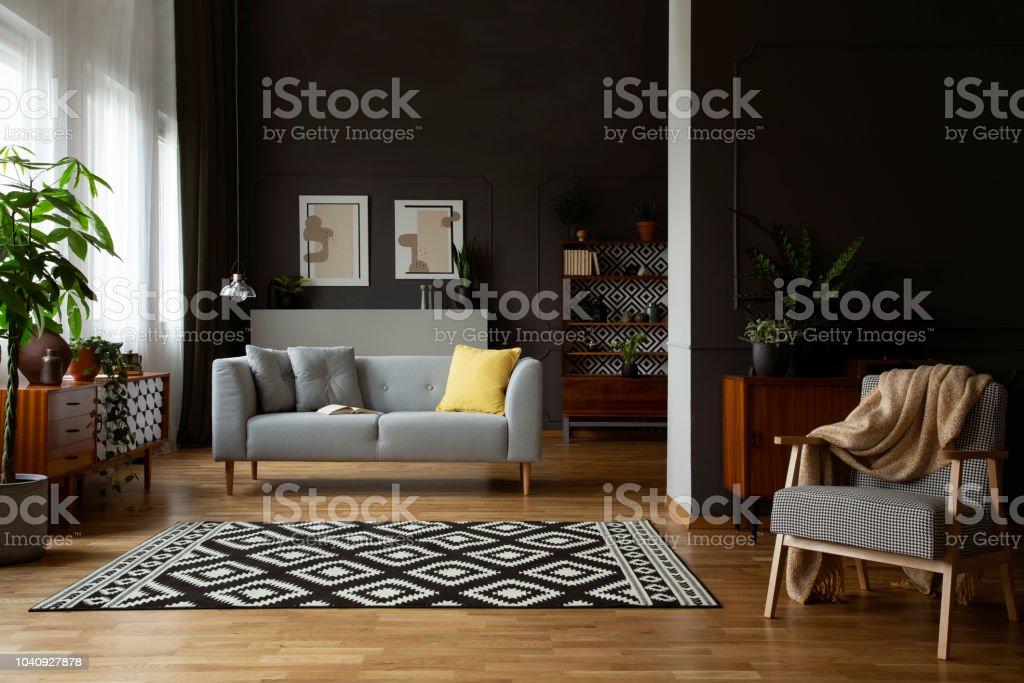Echtes Foto Von Freiflächen Dunklen Wohnzimmer Interieur Mit ...