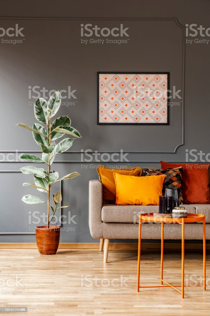 Real photo of poster with geometric pattern hanging on the wall with wainscoting in dark living room interior with fresh plant, sofa with cushions and metal end table with decor stock photo