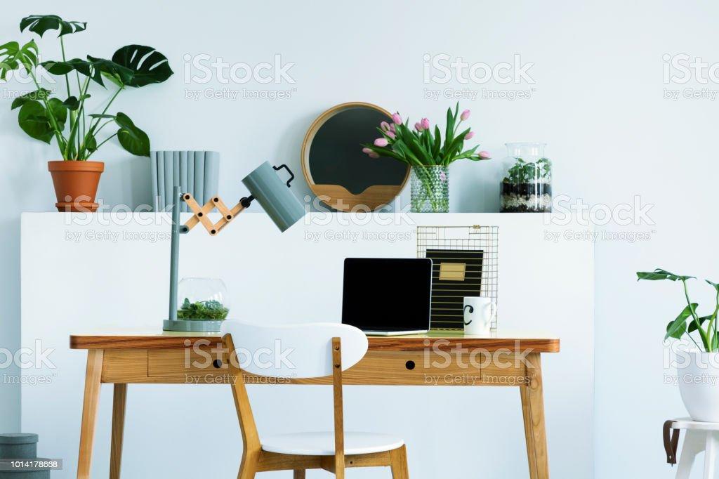 Bureau Plank Aan Muur.Echte Foto Van Muur Plank Met Bloemen En Verse Plant Decor