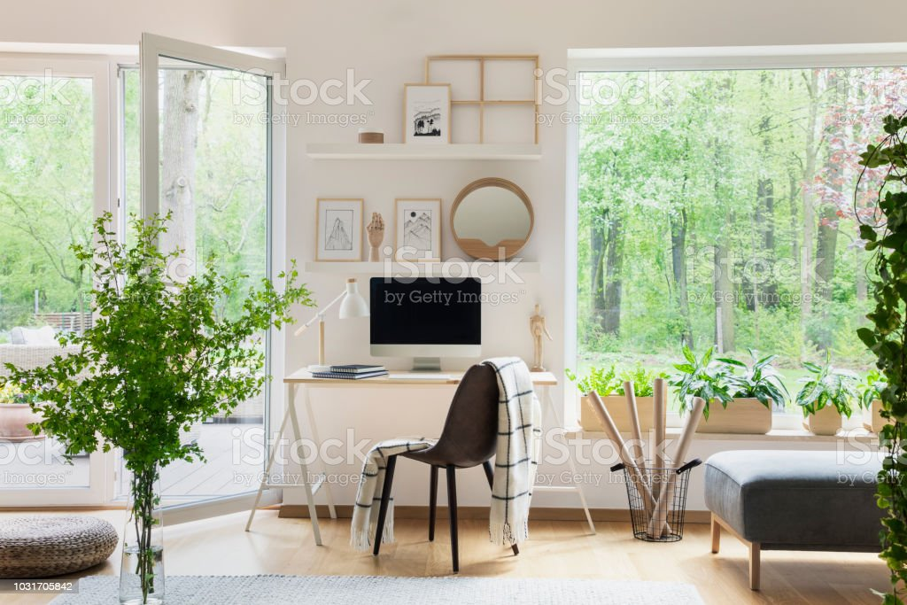 Real Photo Of White Living Room Interior With Big Window, Glass Door, Fresh  Plants