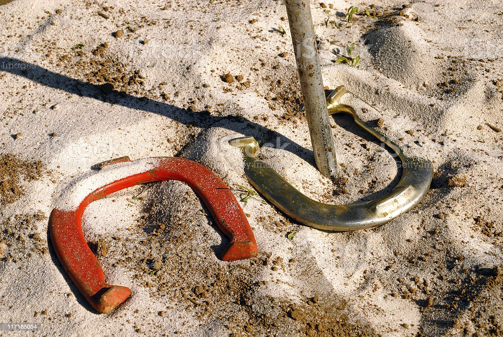 Real ringer game of horseshoes stock photo