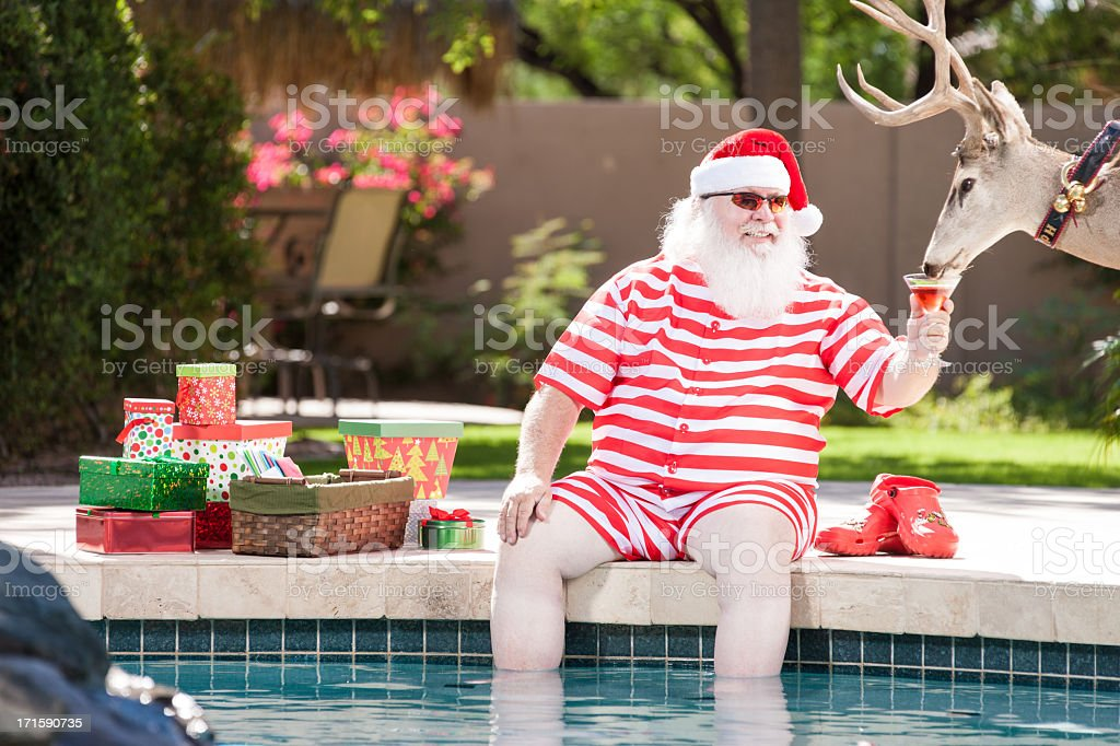 Real Santa and Rudolph Relaxing by the Pool stock photo