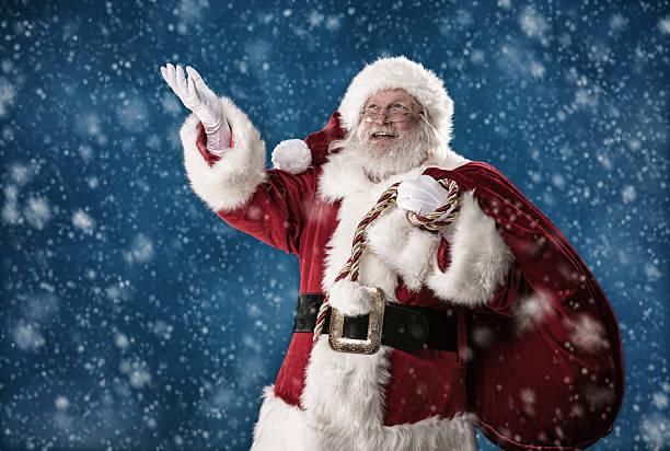 Real Santa Catching Snowflakes stock photo
