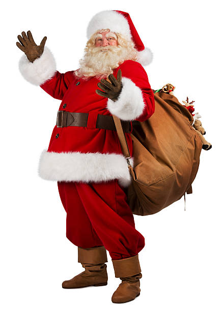real santa claus carrying big bag full of gifts stock photo - Pictures Santa Claus