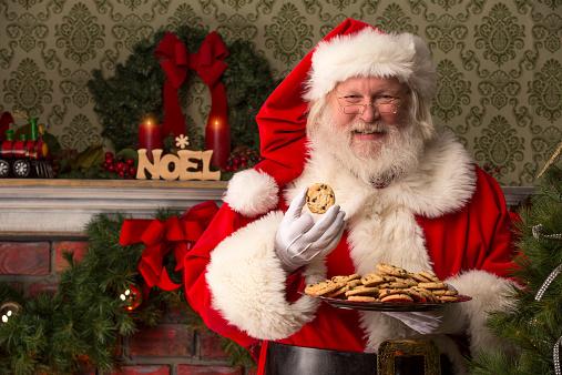 Real Santa Claus Eating Cookies Stock Photo - Download ...