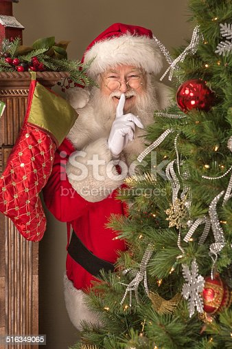 Real Santa Claus Hiding Behind Christmas Tree Stock Photo & More Pictures of Cheerful | iStock