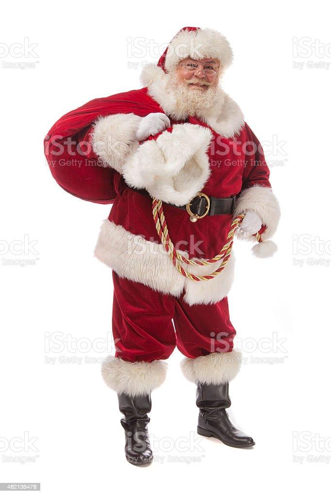 Real Santa Claus-Pose auf weiß mit Tasche – Foto