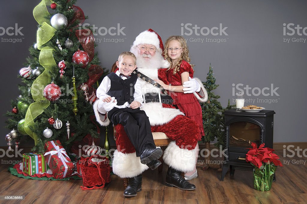 Real Santa Claus with Children stock photo