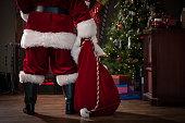 Real Santa with Bag of Gifts
