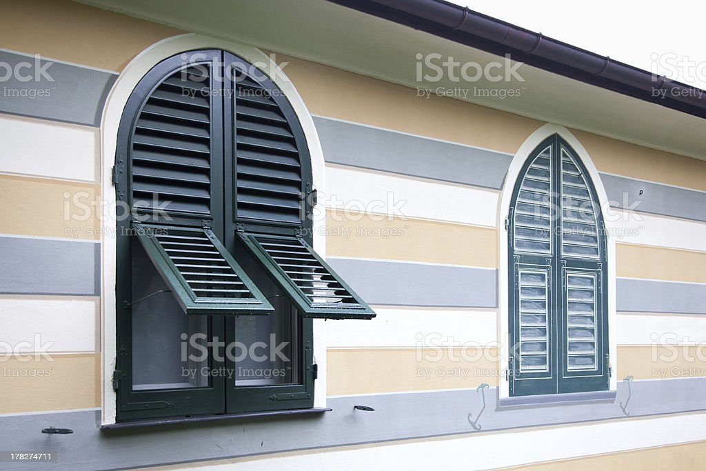 real shutters and fake window stock photo