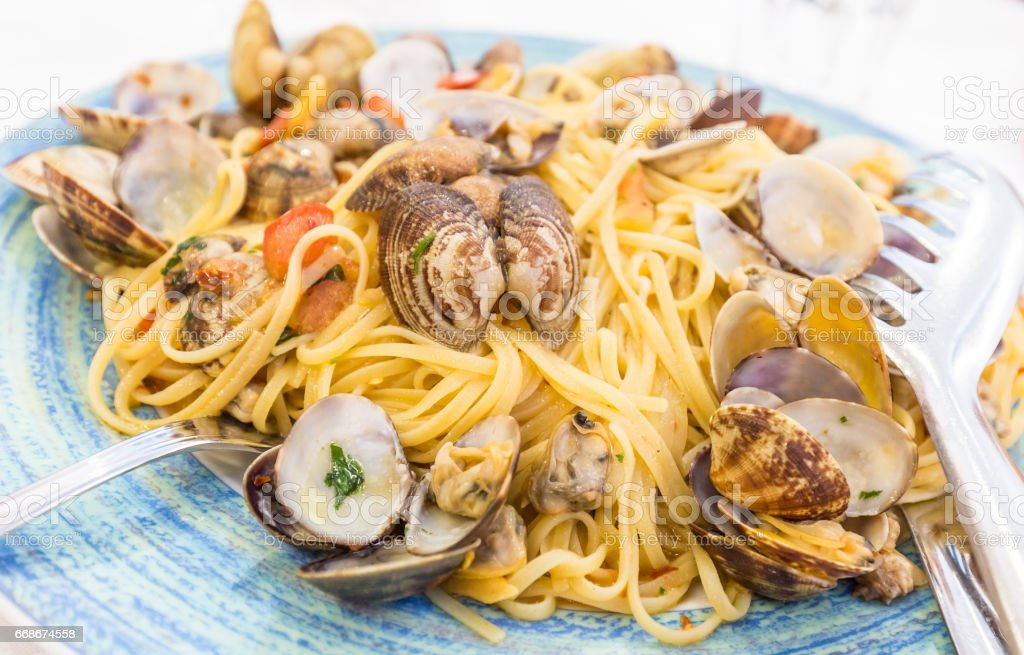 Real Spaghetti alle vongole in Naples, Italy stock photo
