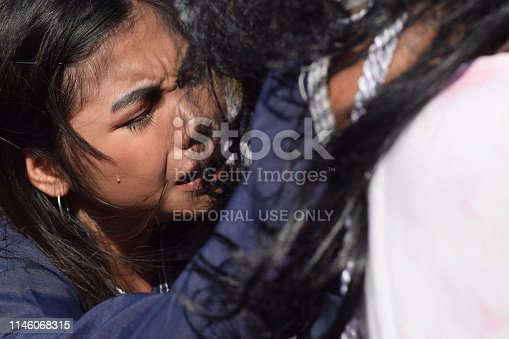 istock San Pablo City, Laguna, Philippines - April 19, 2019: Real tears emit from the eyes of a woman feeling pity to Jesus Christ, street drama, community celebrates Good Friday representing the events that led to his Crucifixion 1146068315