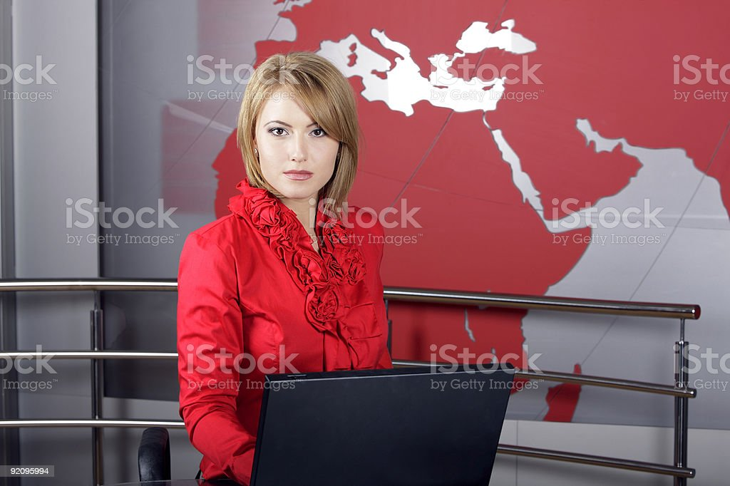 Real television reporter with braking news stock photo