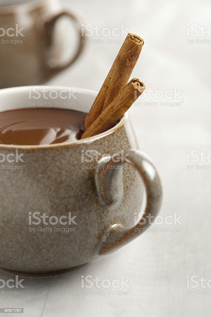 real thick hot chocolate in mug with cinnamon sticks royalty-free stock photo