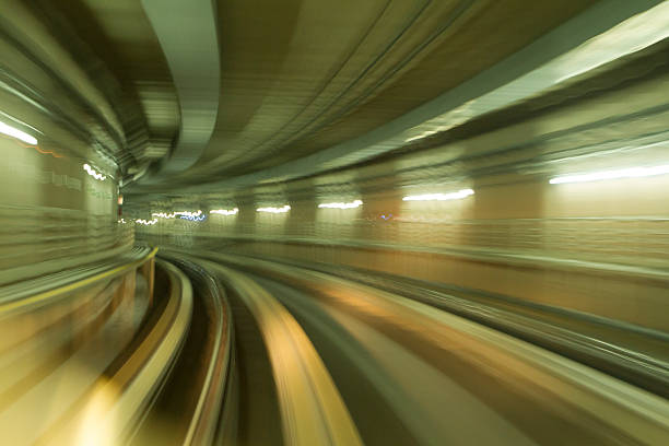 Real tunnel with a long time exposure stock photo