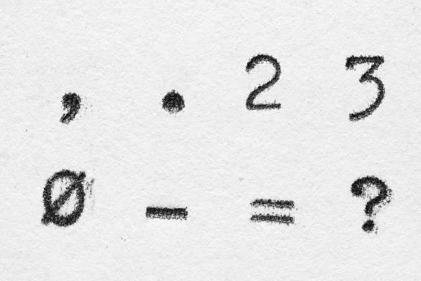 echtes schreibmaschinen-schriftalphabet mit ziffern 2, 3, 0 und symbolen - komma stock-fotos und bilder