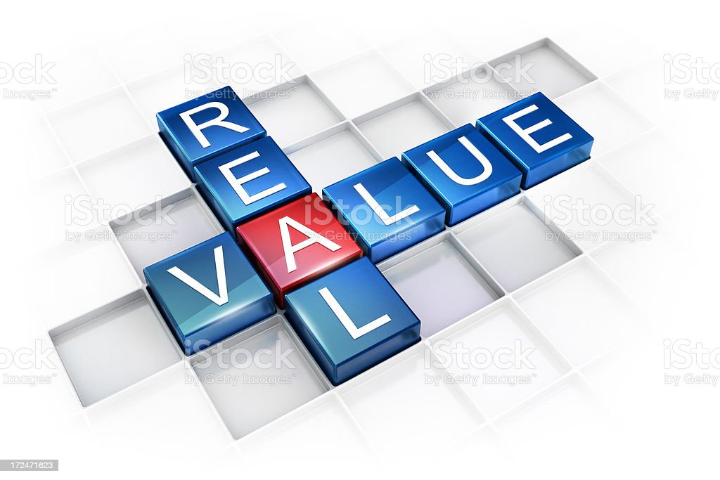 Real Value Crossword concept royalty-free stock photo