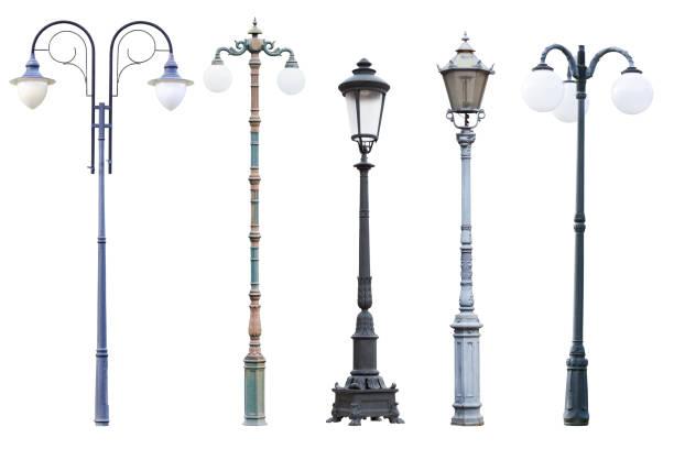 アンティークの通りランプのポストそして白い背景で隔離のランタン - 街灯 ストックフォトと画像