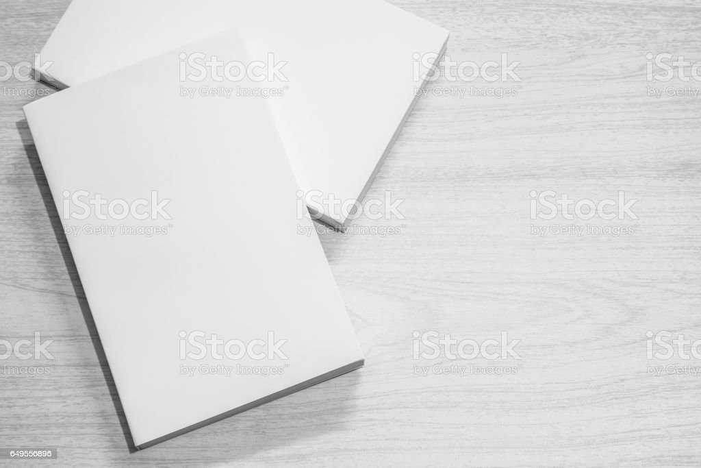 Real white books on the table stock photo