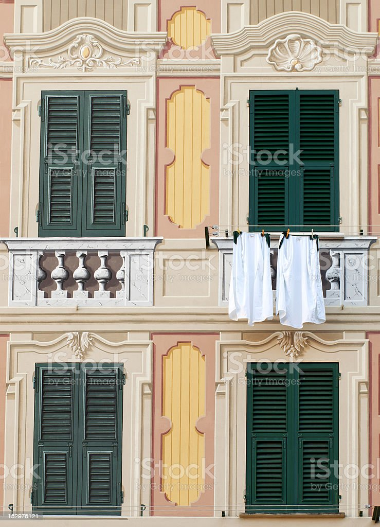 real windows and painted stock photo
