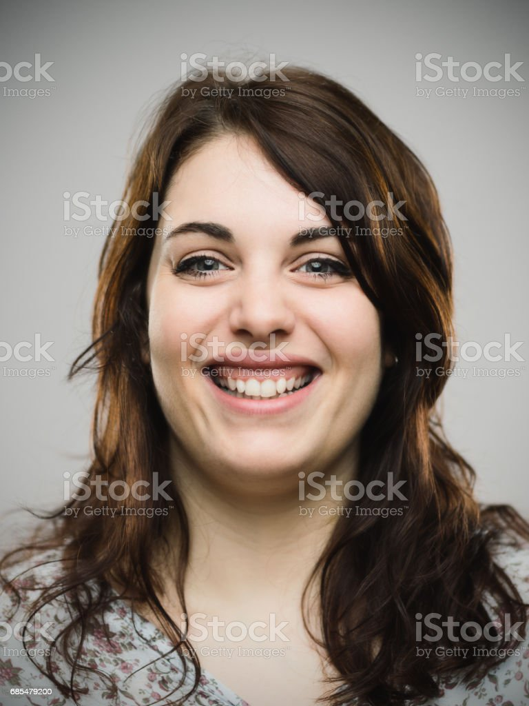 Real woman looking happy stock photo