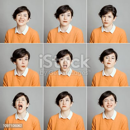 Real woman making different facial expressions