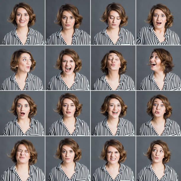 다른 표정을 만드는 진짜 여자 - 얼굴 표현 뉴스 사진 이미지
