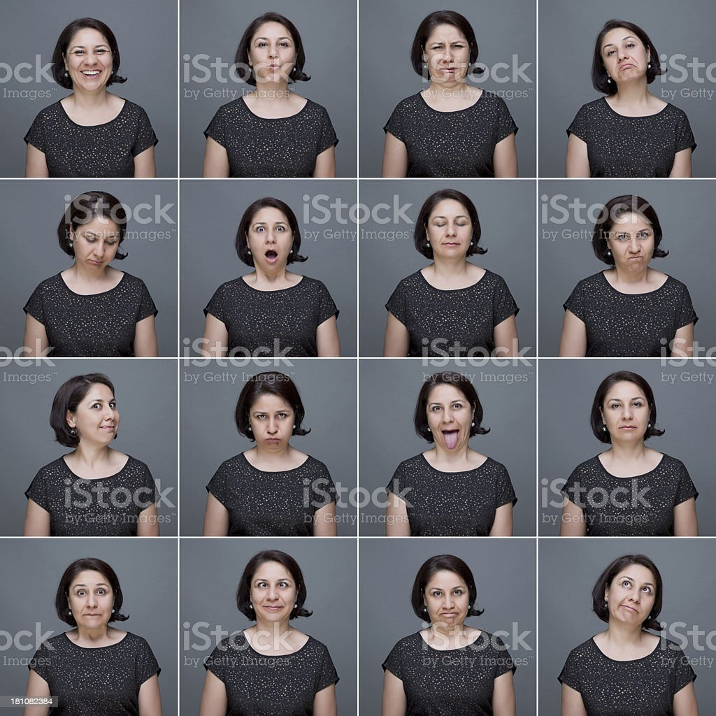 Real woman making facial expressions stock photo