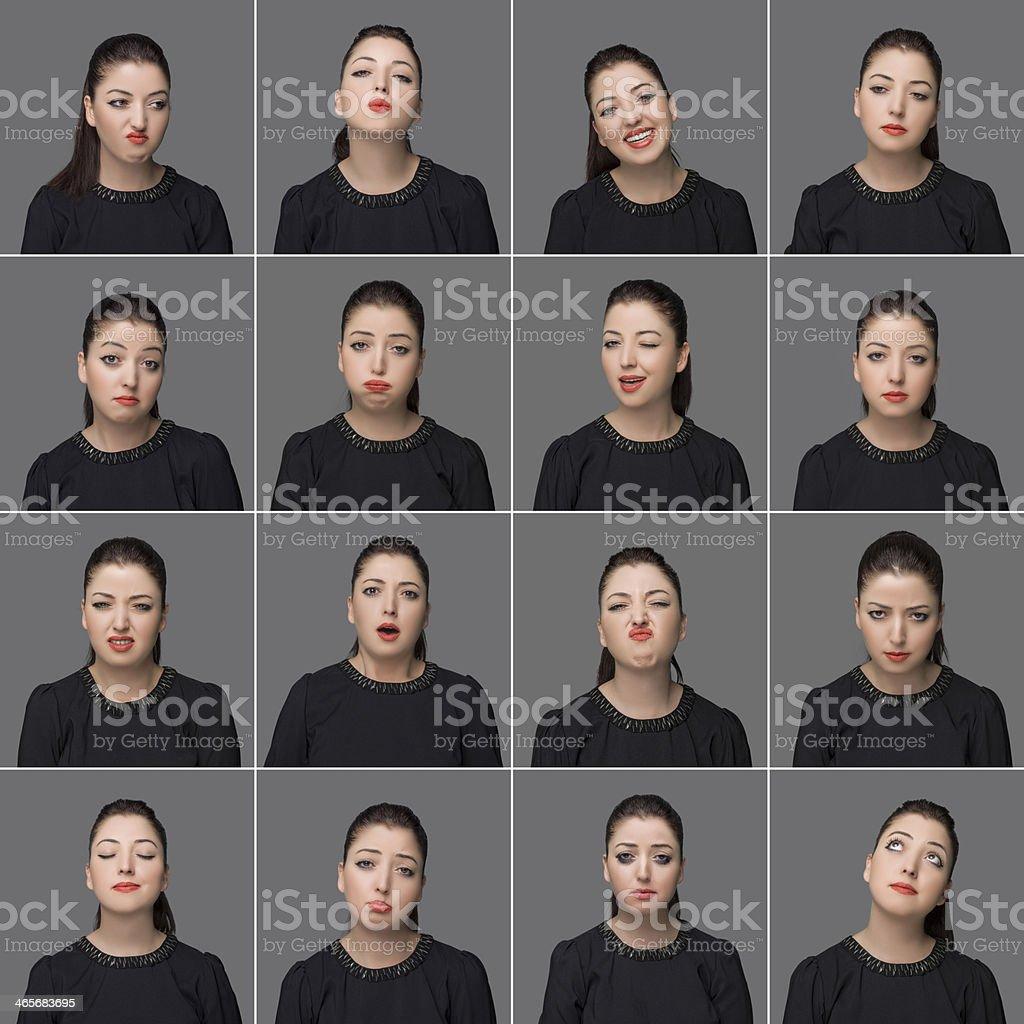 Real woman making facial expressions stock photo