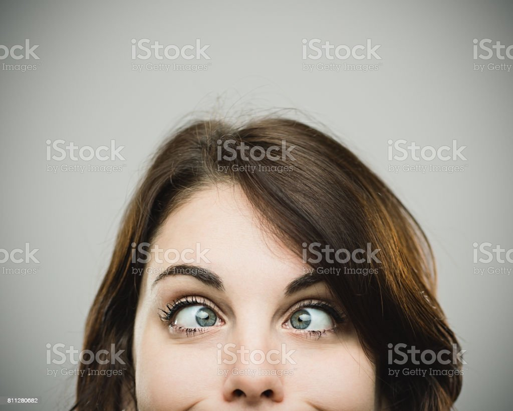 Real woman making funny face stock photo