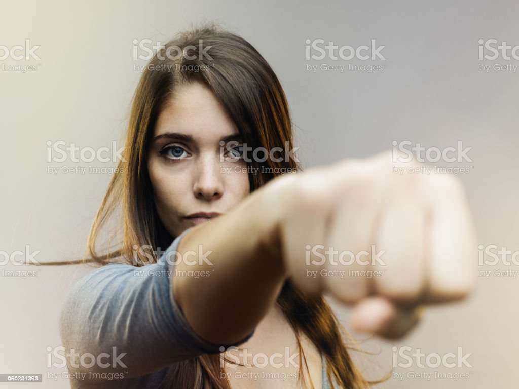 Real woman ready for fight stock photo