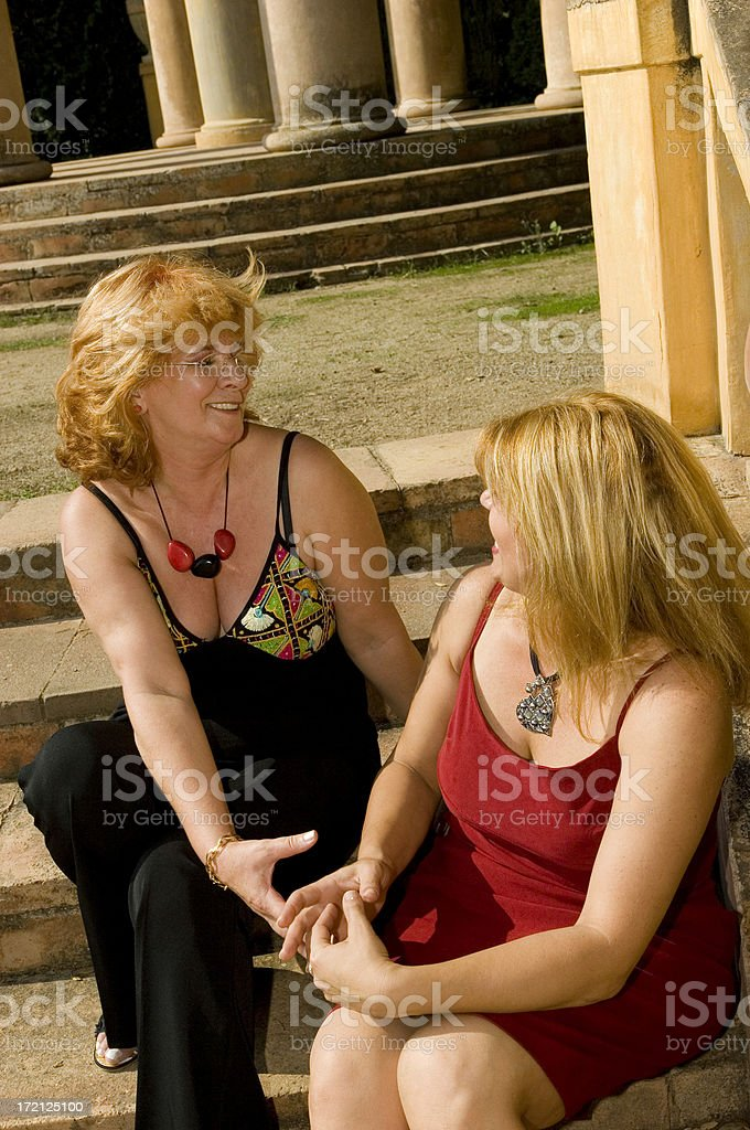Real Women Having a Conversation royalty-free stock photo