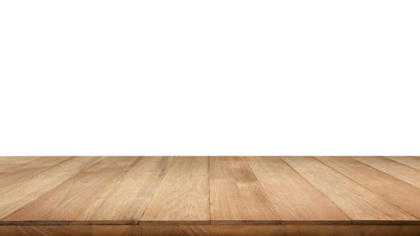 real wood table top texture on white background. - diminishing perspective stock photos and pictures
