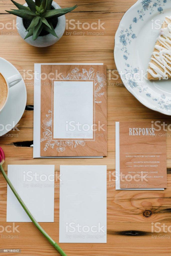 Real Wood Wedding Invitation Suite stock photo