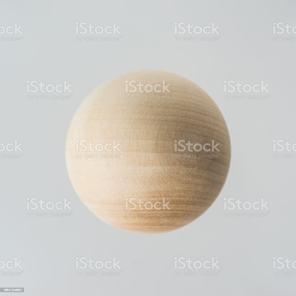 real wooden ball float on grey background foto stock royalty-free