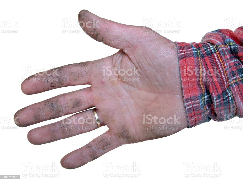 Real worker hand royalty-free stock photo