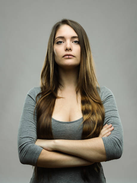 Real young woman studio portrait stock photo