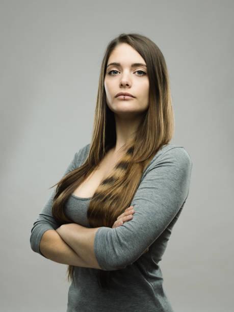 Real young woman studio portrait - foto stock