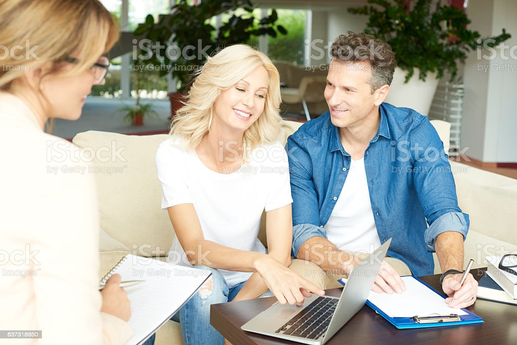 Realestate agent and her client stock photo