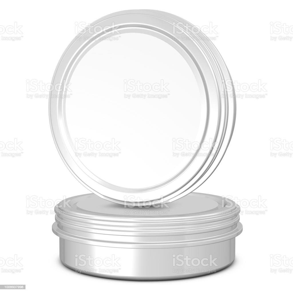 Realistic 3D beard balm rendering mockup on white background stock photo