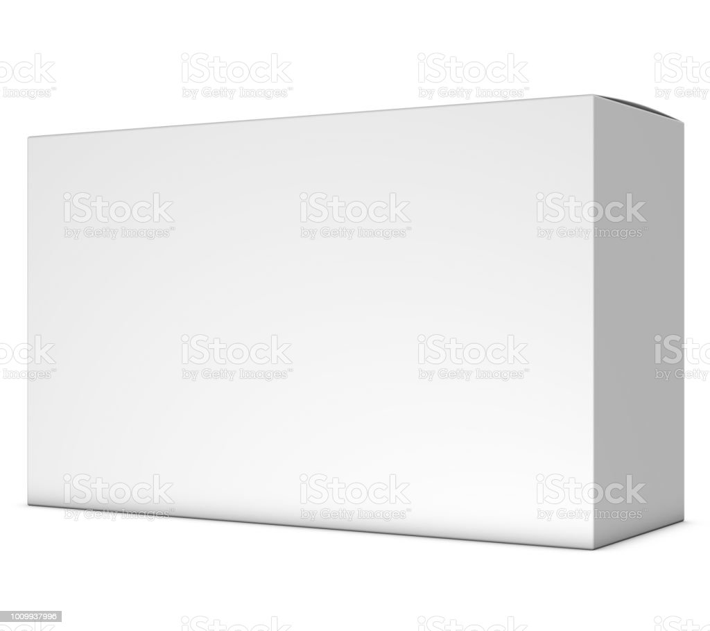 Realistic 3d Box Rendering Mockup On White Background Stock Photo