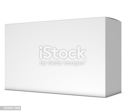istock Realistic 3D box rendering mockup on white background 1009937996