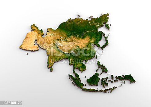 538675410istockphoto Realistic 3D Extruded Map of Asian Continent (including Indian sub-continent,East Asia,Russia and Middle-East) 1057495170