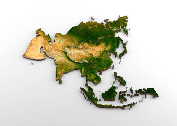 Realistic 3D Extruded Map of Asian Continent (including Indian sub-continent,East Asia,Russia and Middle-East) 3D rendering of extruded high-resolution physical map (with relief) of the Asian Continent,isolated on white background. Modeled and rendered with Houdini 16.5 Satellite image from NASA: https://visibleearth.nasa.gov/view.php?id=74092 country geographic area stock pictures, royalty-free photos & images